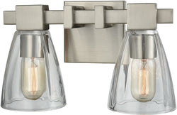 Elk Lighting Ensley 2-Light Vanity Satin Nickel/Clear Glass 119812