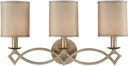 Elk Lighting Estonia 3-Light Vanity Aged Silver/Beige Half-Shades 311293