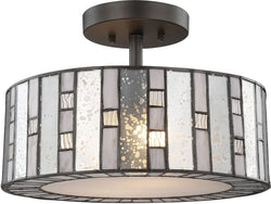 Elk Lighting Ethan 2-Light Semi Flush Tiffany Bronze/Mercury, Gray,/Clear Rippled Glass 702132