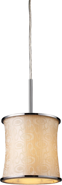 Elk Lighting Fabrique 1-Light Drum Pendant Polished Chrome with Retro Beige Shade 200241