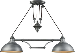 Farmhouse 2-Light Pulldown Island-Light Weathered Zinc