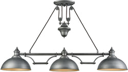 Farmhouse 3-Light Pulldown Island-Light Weathered Zinc