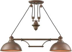 Elk Lighting Farmhouse 2-Light Pulldown Island-Light Tarnished Brass 652722
