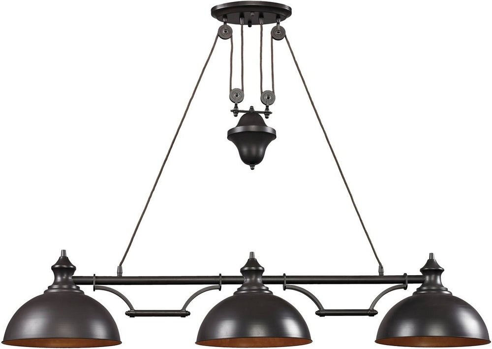 "56""W Farmhouse 3-Light Billiard/Island Oiled Bronze"