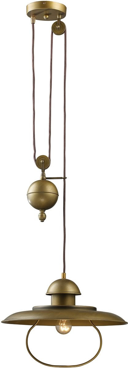 "15""w Farmhouse Steam Punk 1-Light Pendant Antique Brass"