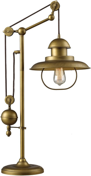 Elk Lighting Farmhouse 1-Light Table Lamp Antique Brass 651001