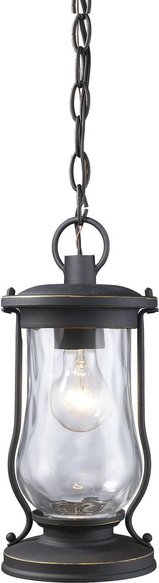 "6""w Farmstead 1-Light Outdoor Pendant Matte Black with Transparent Glass"