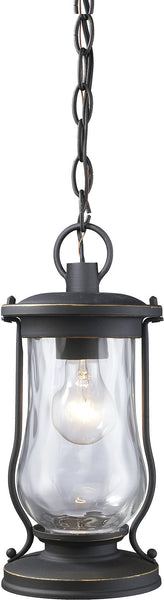 Elk Lighting Farmstead 1-Light Outdoor Pendant Matte Black with Transparent Glass 430171