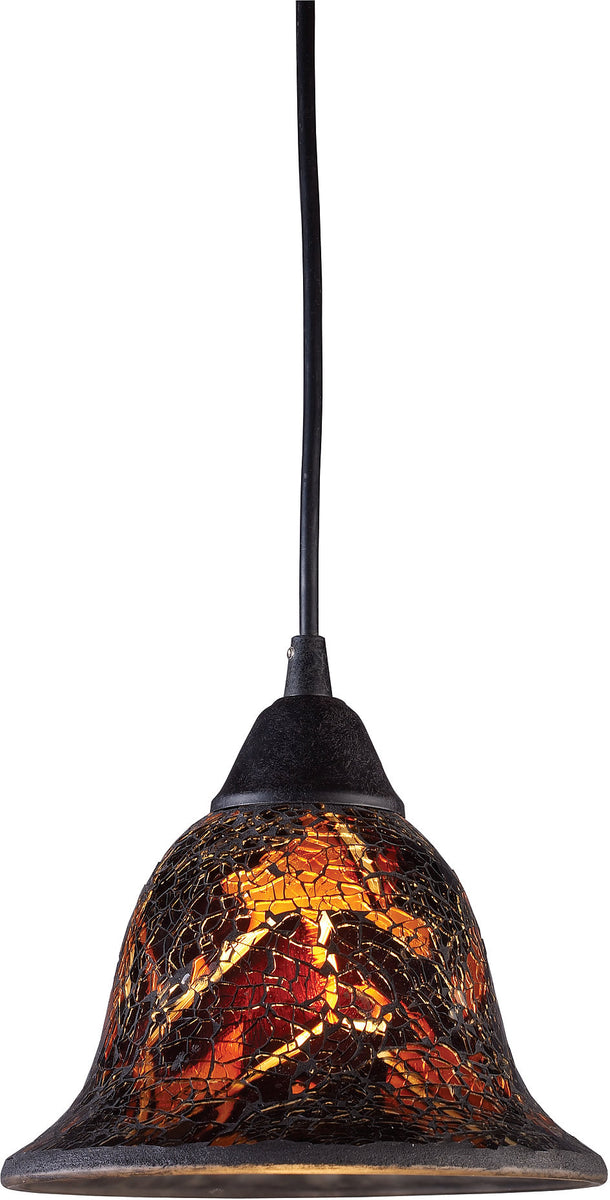 "7""w Firestorm 1-Light Pendant Dark Rust with Orange/Yellow Glass"