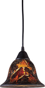 Elk Lighting Firestorm 1-Light Pendant Dark Rust with Orange/Yellow Glass 101441FS