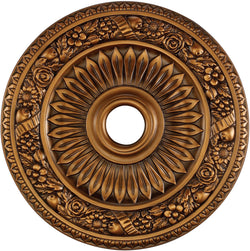 "24""w Floral Wreath Ceiling Medallion Antique Bronze"