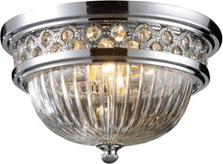 "13""w 2-Light Flush Mount Polished Chrome with Transparent Glass"