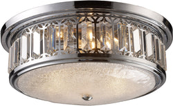 "16""w 3-Light Flush Mount Polished Chrome with Transparent Glass"