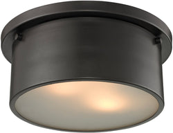 "10""w 2-Light Flush Mount Satin Nickel"