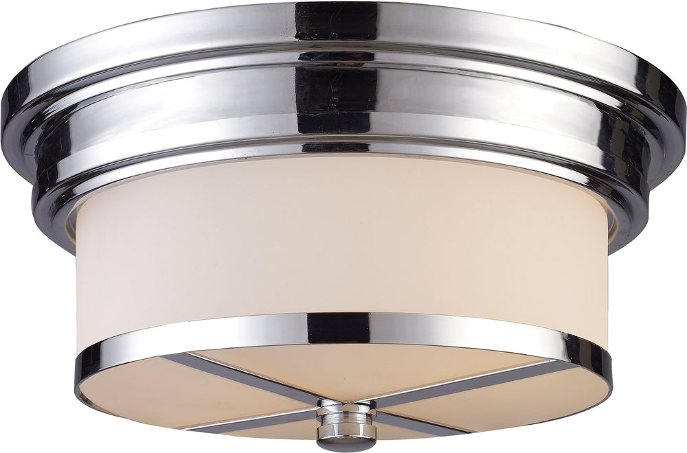 "13""W 2-Light Flush Mount Polished Chrome with White Glass"
