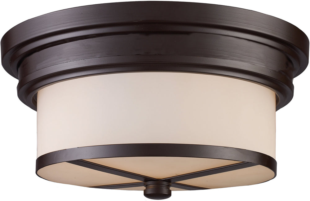 "13""w 2-Light Flush Mount Oiled Bronze with White Glass"
