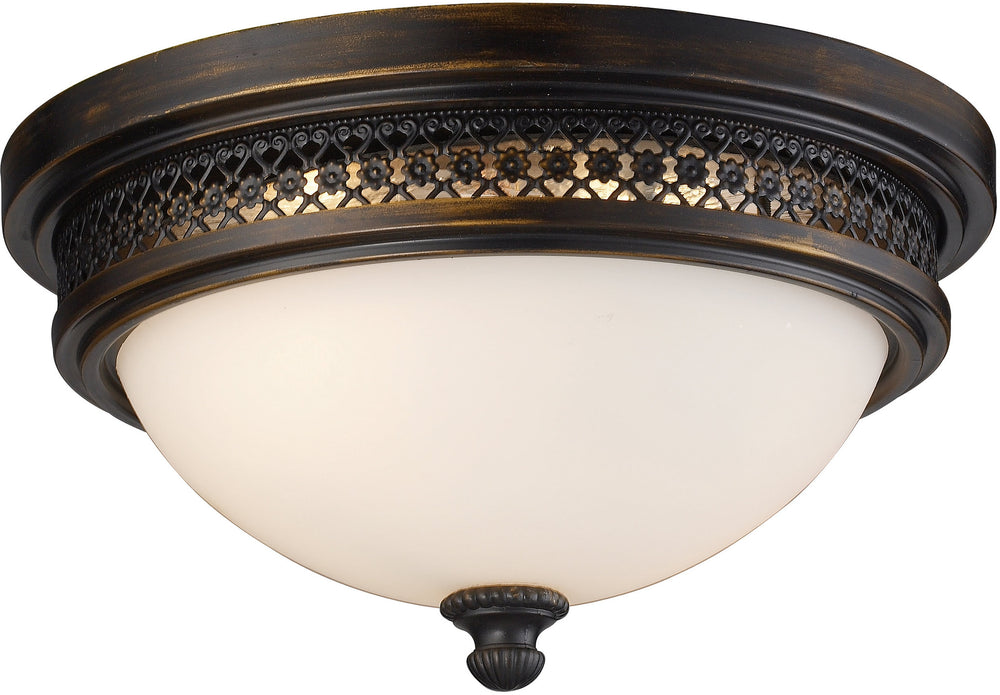 "13""w 2-Light Flush Mount Deep Rust with White Glass"