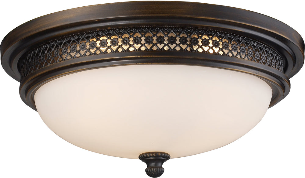 "16""W 3-Light Flush Mount Deep Rust with White Glass"