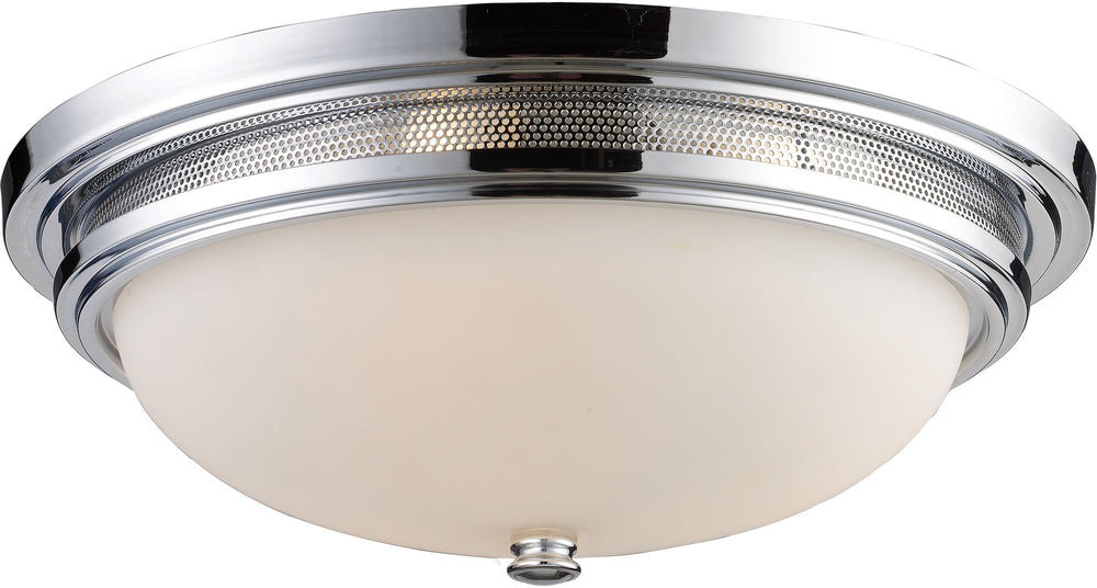 "16""W 3-Light Flush Mount Polished Chrome with White Glass"