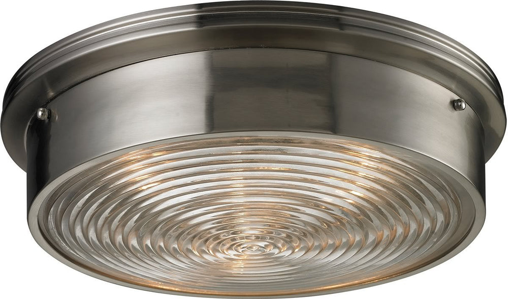 "15""W Flushmounts 3-Light Flushmount Brushed Nickel"