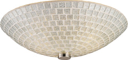 "12""w Fusion 2-Light Flush Mount Satin Nickel with Silver Mosaic Glass"