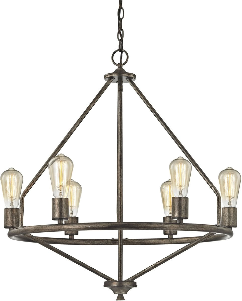 "25""W Galaway 6-Light Chandelier Windswept Silver"