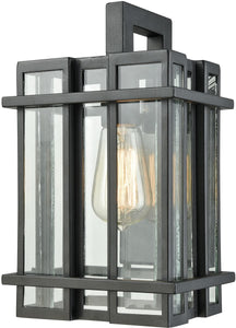 Elk Lighting Glass Tower 1-Light Outdoor Wall Sconce Matte Black/Clear Glass 453141
