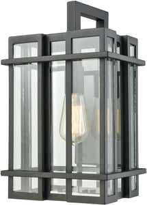 Elk Lighting Glass Tower 1-Light Outdoor Wall Sconce Matte Black/Clear Glass 453151