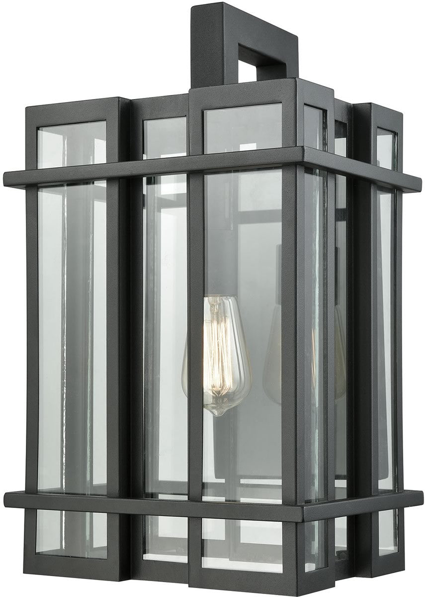 "18""H Glass Tower 1-Light Outdoor Wall Sconce Matte Black/Clear Glass"