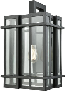 Elk Lighting Glass Tower 1-Light Outdoor Wall Sconce Matte Black/Clear Glass 453161