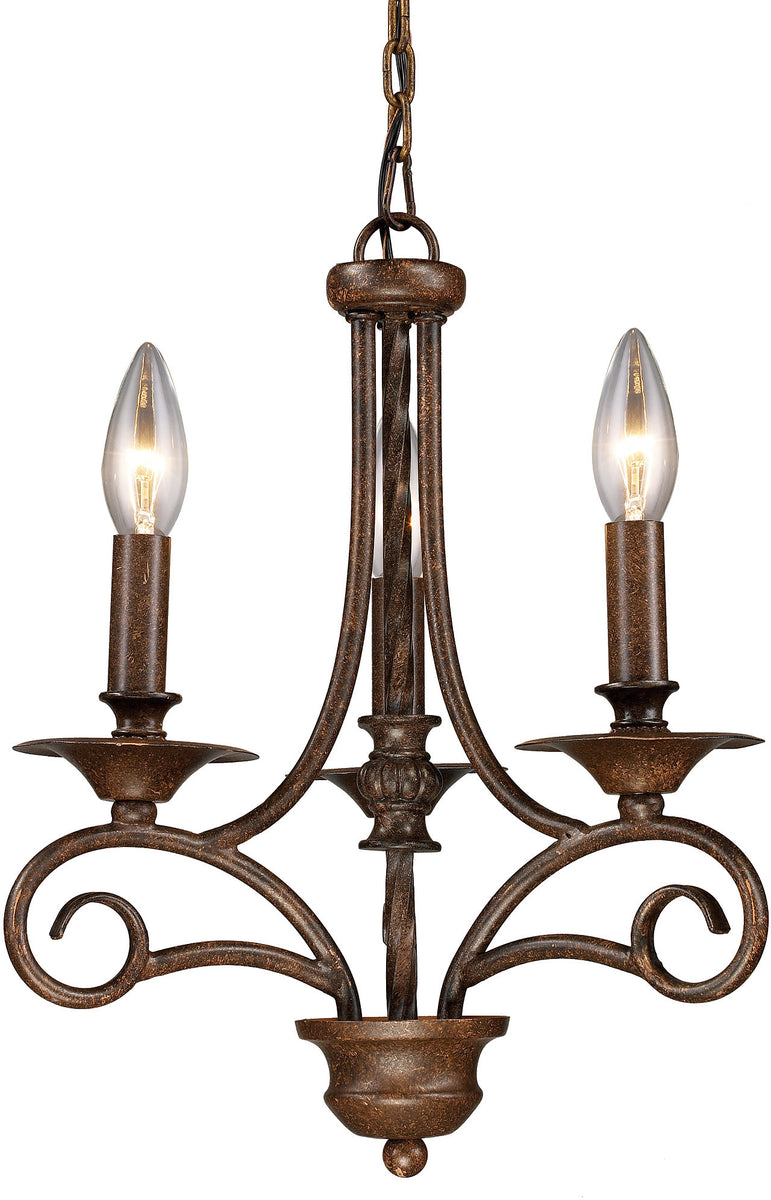 "12""w Gloucester 3-Light Chandelier Antique Bronze with Transparent Glass"