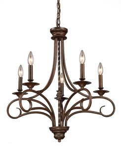 Elk Lighting Gloucester 5-Light Chandelier Antique Bronze with Transparent Glass 150425