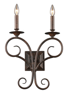 "14""w Gloucester 2-Light Wall Sconce Antique Bronze with Transparent Glass"