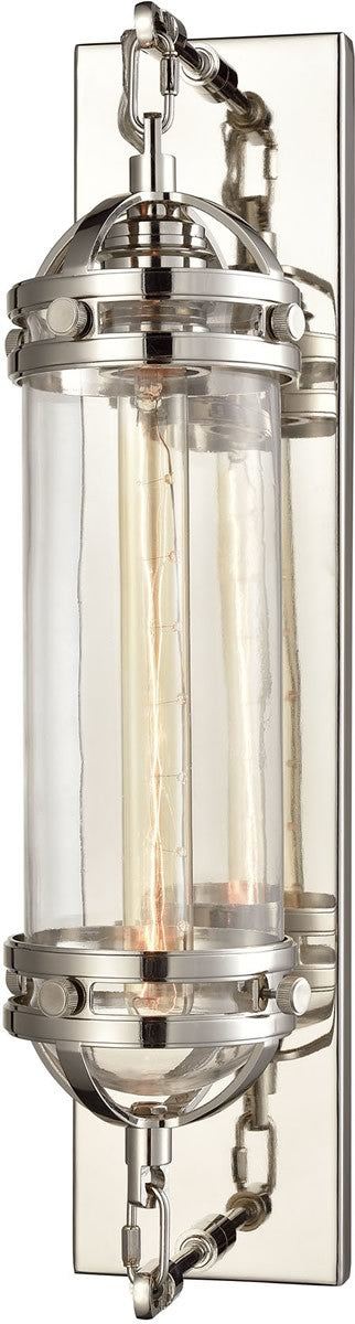 "5""W Gramercy 1-Light Wall Sconce Polished Nickel/Clear Glass"