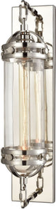 Gramercy 1-Light Wall Sconce Polished Nickel/Clear Glass