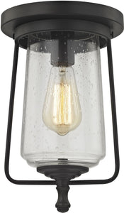 Elk Lighting Hamel 1-Light Flush Oil Rubbed Bronze/Clear Seedy Glass 812231
