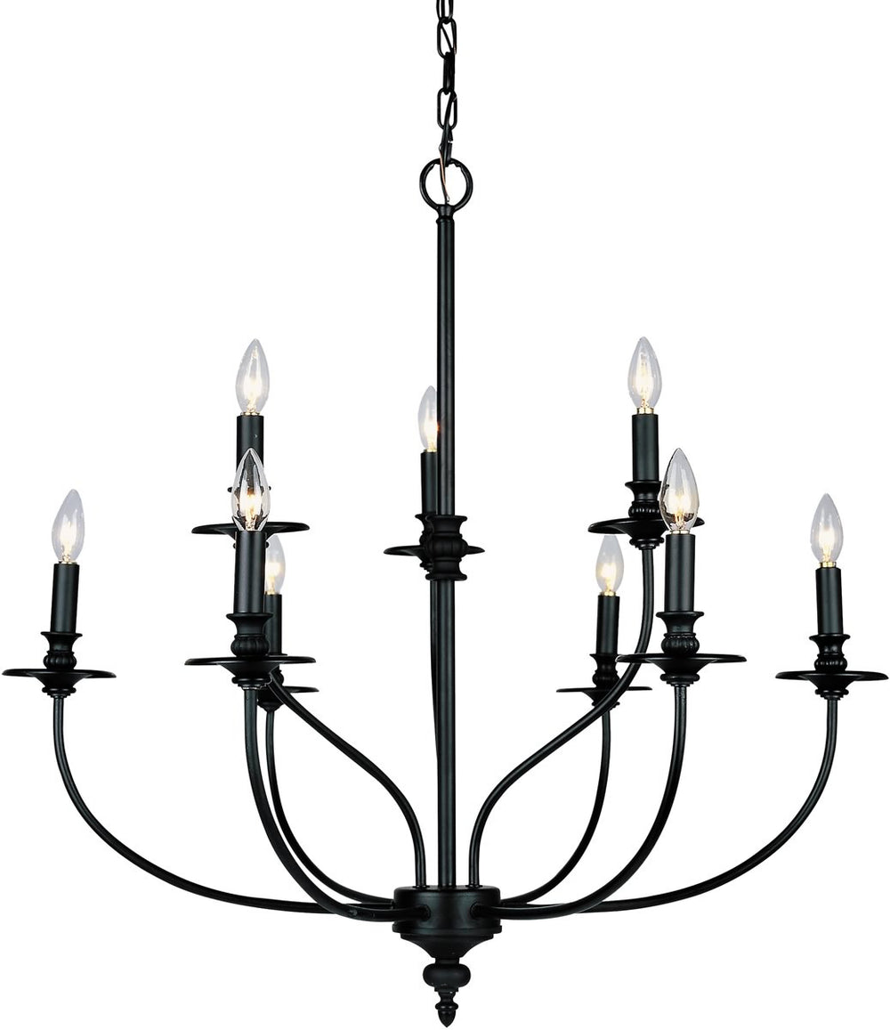 "29""w Hartford 9-Light Chandelier Oil Rubbed"