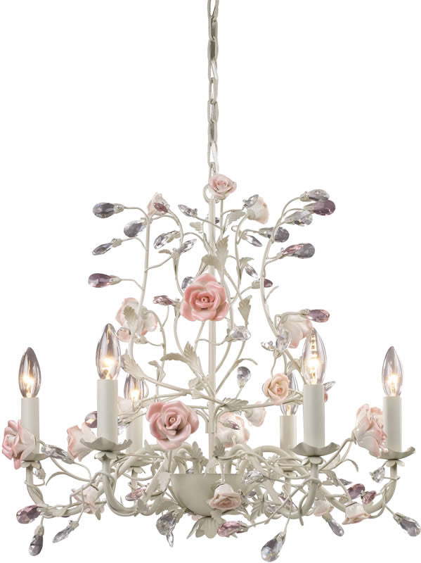 "22""W Heritage 6-Light Chandelier Cream"