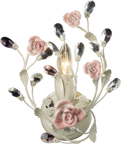 "7""w Heritage 1-Light Wall Sconce Cream with Cream and Porcelian Roses Glass"