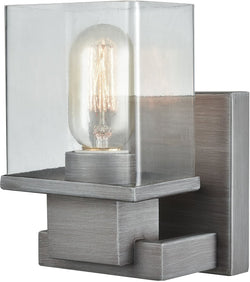 Elk Lighting Hotelier 1-Light Vanity Weathered Zinc/Clear Glass 119401