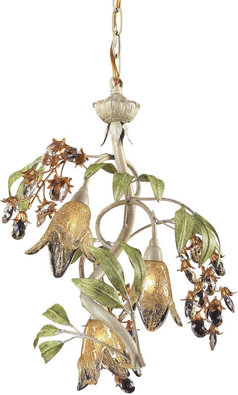 "16""W Huarco 3-Light Halogen Chandelier Seashell/Amber"