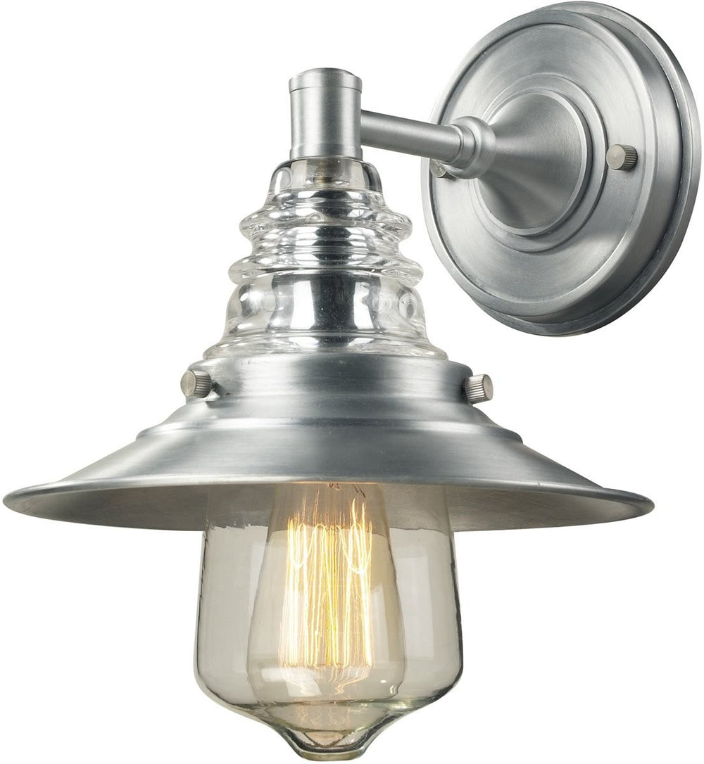 "9""W Insulator Glass 1-Light Wall Sconce Brushed Aluminum"