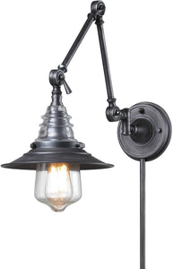 Elk Lighting Insulator Glass 1 Light Swingarm Weathered Zinc 668261