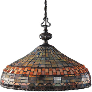 "20""W Jewelstone Tiffany 3-Light Pendant Classic Bronze"