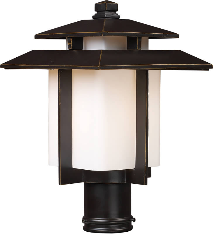 "15""h Kanso 1-Light Outdoor Post Lantern Hazelnut Bronze"