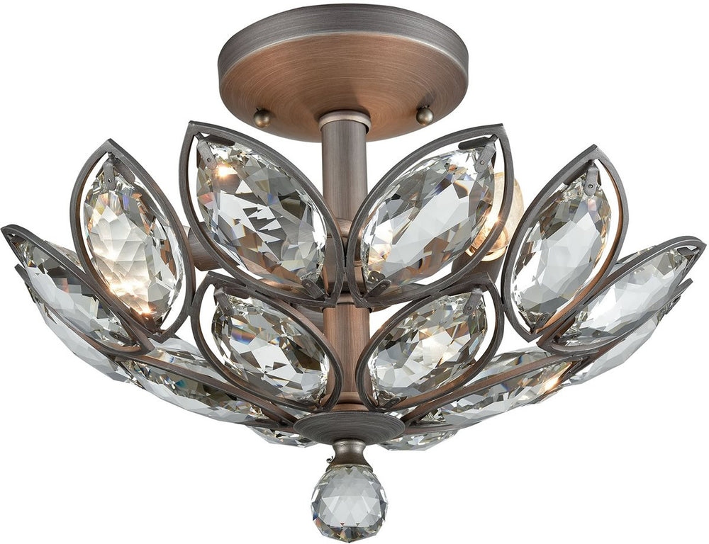 "15""W La Crescita 3-Light Semi Flush Weathered Zinc/Clear Crystal"
