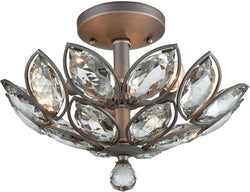 La Crescita 3-Light Semi Flush Weathered Zinc/Clear Crystal