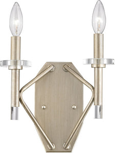 Elk Lighting Lacombe 2-Light Wall Sconce Aged Silver/Clear Glass Accents 812002