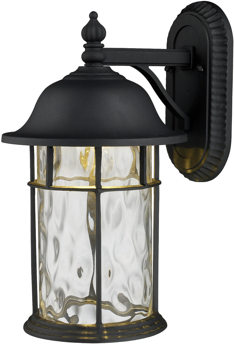 "14""H Lapuente 1-Light LED Outdoor Wall Sconce Matte Black with Transparent Glass"