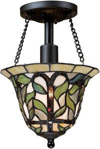 "8""w Latham 1-Light Semi Flush Tiffany Bronze"